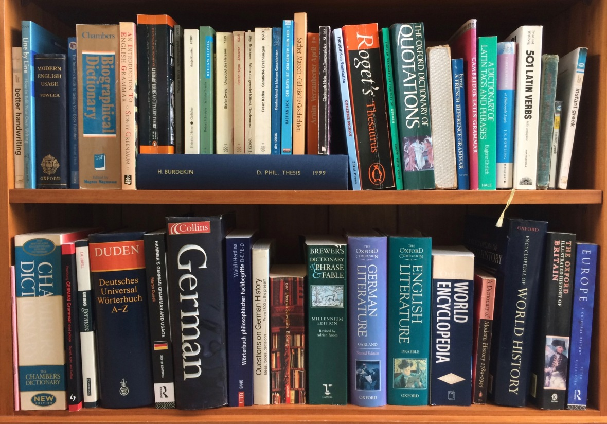Picture of bookshelves showing range of reference books