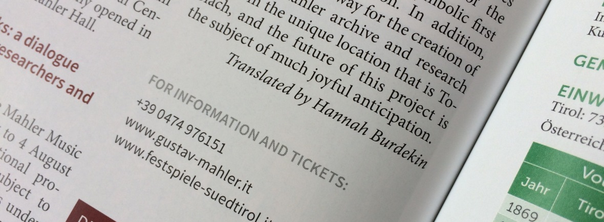 Excerpt of article from magazine, showing printed text and including 'Translated by Hannah Burdekin'
